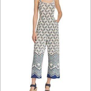 Aqua Blue Floral Print Jumpsuit - Size XS - NWOT